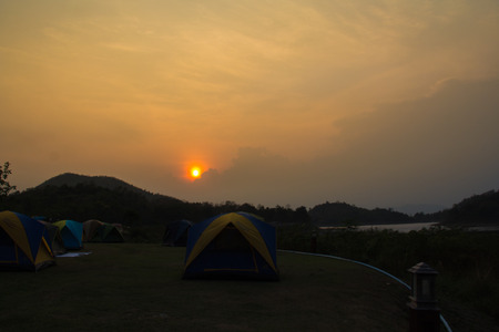 insular: camping at mountain sunset