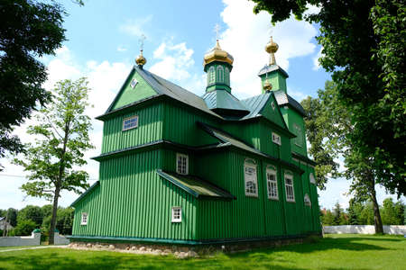 Beautiful historic wooden Orthodox church in the village of Trzescianka in Podlasie, Poland. This area is called the Land of Open Shutters