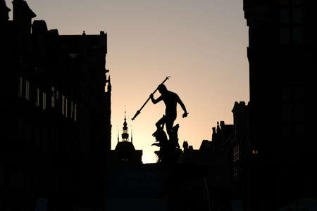 Contour photo of Old Town of Gdansk - Neptune's Fountain on Dluga Street in evening light. Poland