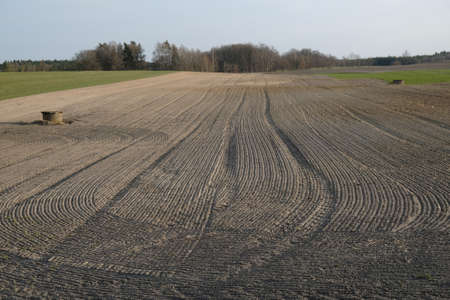 A close-up of furrows in a freshly plowed field in spring.