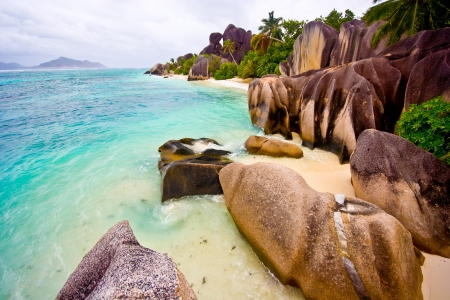 Bay shot on La Digue, one of the most beautiful islands of the Seychelles