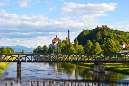 railway history: a railroad bridge over a river on a beautiful landscape