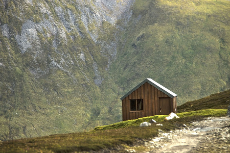 Wooden hut in the mountains. Braemar, Aberdeenshire, Scotland, UK.
