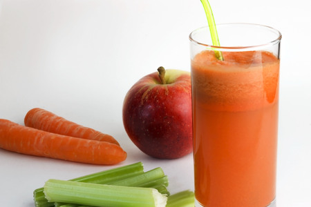 Healthy, homemade, fresh carrot juice in a glass