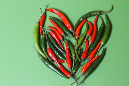 Chilli pepper. Heart shape Stock Photo