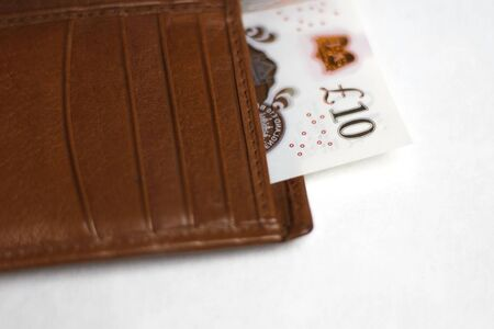 Ten pound bank note in a wallet