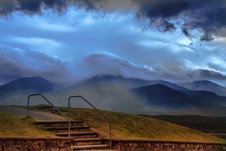 Stairs with Ben Nevis view. Lochaber, Scotland, UK.