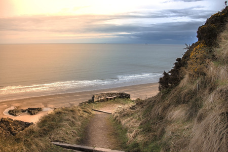 Sunset at St Cyrus Beach. Aberdeenshire, Scotland, UK Stock Photo