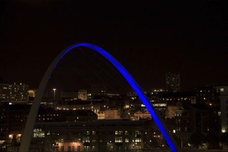 Newcastle Upon Tyne, England, UK in the night and Gateshead Millennium Bridge detail Stock Photo