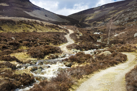 Hiking trail in Cairngorms National Park. Angus, Scotland, UK Stock Photo