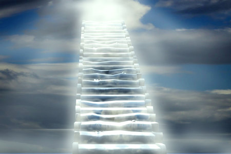 Steps to Heaven's gate. Religious background Imagens
