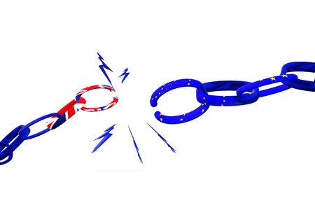 Brexit. Broken chain between UK and EU. United Kingdom leaves European Union. 3D render