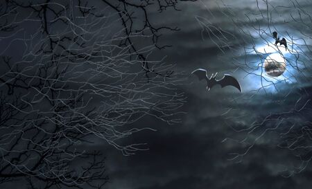Abstract Halloween background. Flying bats in the night.