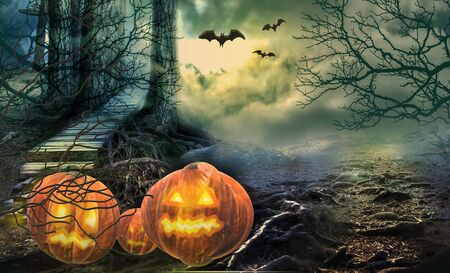 Halloween colorful background. Pumpkins in the spooky forest.