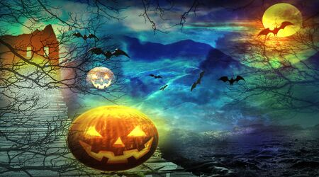 Halloween colorful background. Jack o lantern in spooky forest in the night. Flying bats and scary house.