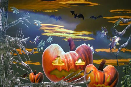 Halloween colorful background with pumpkins