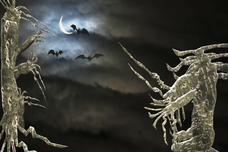 Halloween background. Spooky forest in the night. Reklamní fotografie