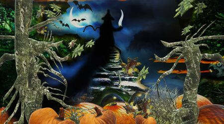 Halloween colorful background with witch