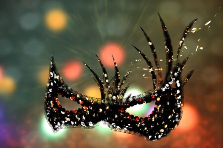 Carnival mask on abstract colorful defocused background. Venetian mask illustration.