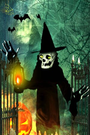 Halloween background. Witch with halloween pumpkin opening gate to spooky forest.