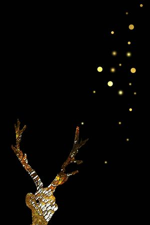 Gold reindeer in the night. Christmas card.
