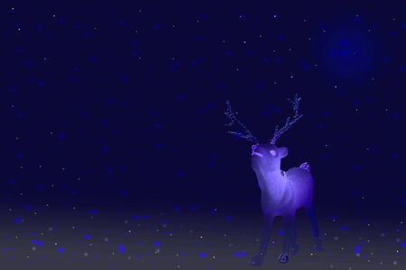 Christmas Winter background. Reindeer in the night.