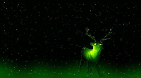 Green reindeer in the night. Christmas card. 写真素材