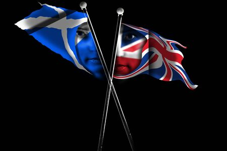 Flags of Scotland and UK painted on human's face