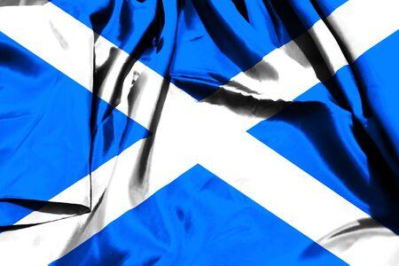 Scottish flag on fabric cloth background
