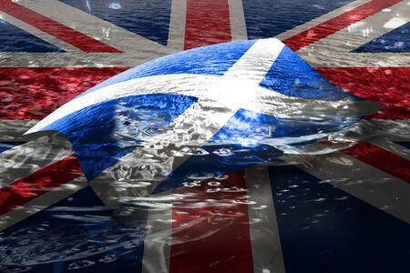Scottish flag floating on Union Jack