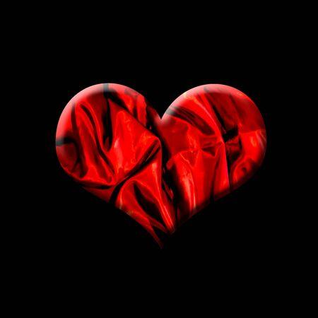 Red heart on black background Stok Fotoğraf