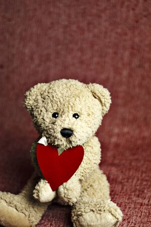 Cute teddy bear sitting with red heart. Valentine's Day card.
