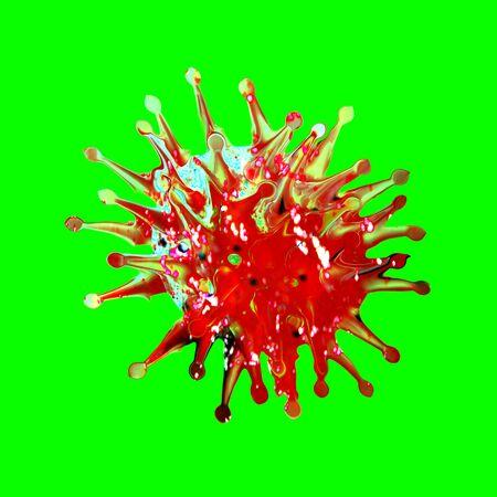 Coronavirus SARS-CoV-2 Covid-19 isolated on green background.