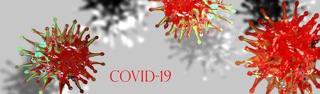 Coronavirus SARS-CoV-2 Covid-19 banner background.