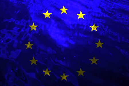European Union flag on flowing water background.