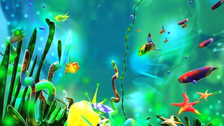 Underwater world. Sea life colorful background.