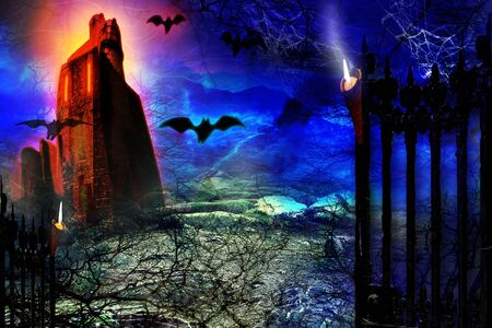 Halloween background. Spooky forest with flying bats and old castle.