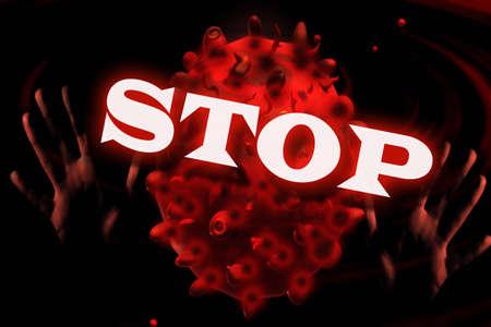 Stop Coronavirus Sars-Cov-2 Covid-19 concept. 3D render illustration.