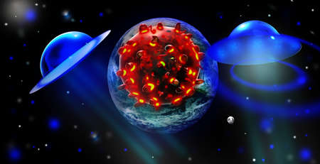 UFO with coronavirus and Planet Earth. Concept of Covid-19 global outbreak or panspermia theory. Elements of image furnished by NASA. Reklamní fotografie