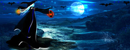 Halloween background with witch and full moon. Reklamní fotografie