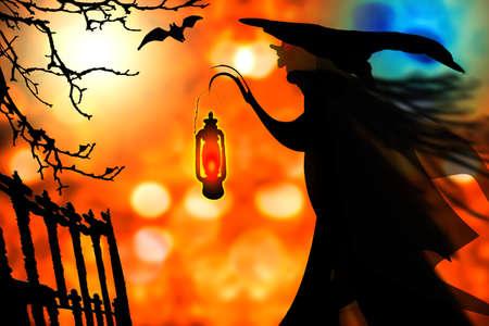 Halloween background. Witch silhouette and fantasy scenery. 3D render illustration. Reklamní fotografie