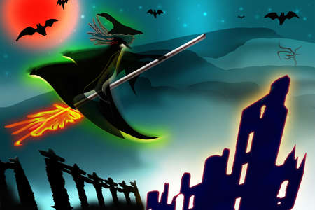 Halloween background. Flying witch silhouette and fantasy scenery. 3D render illustration.