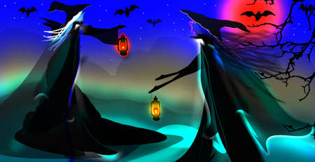 Halloween background with witch. Reklamní fotografie