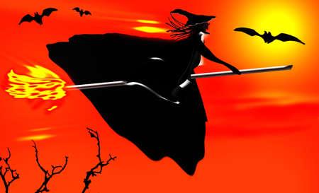 Halloween background. Witch flying on a broomstick. Reklamní fotografie