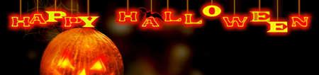 Halloween banner with Happy Halloween text.