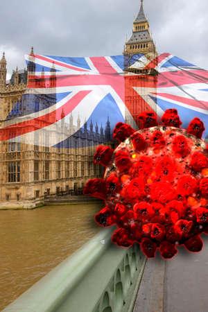 Covid-19 in UK. Big Ben in London with British Flag and coronavirus Sars-Cov-2.