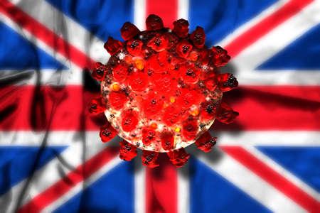 Red coronavirus on UK flag background. 3d render illustration.