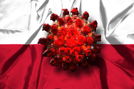 Covid-19 coronavirus Sars-Cov-2 in Poland. Red virus on Polish Flag background.