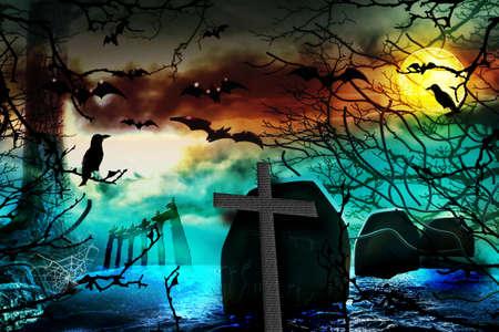 Spooky background. Halloween night scene Reklamní fotografie
