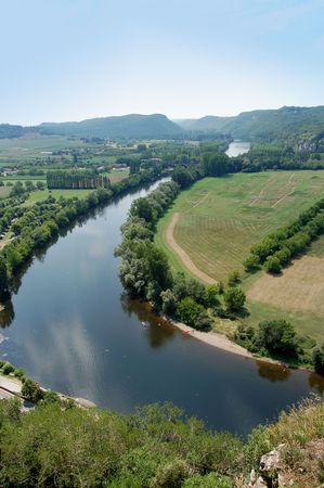 Bend in the Dordogne river from the parapet of Chateau de Beynac photo